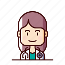 avatar, doctor, female, stethoscope icon