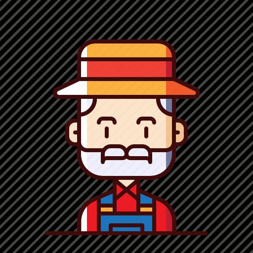 avatar, farmer, grandfather icon
