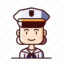 avatar, female, marine, sailor icon