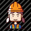 avatar, female, labourer, worker icon