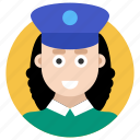 female cop, officer, police, police officer, policewoman icon