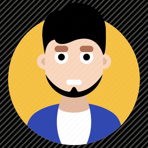 avatar, beard man, male, masculine, stylish person icon