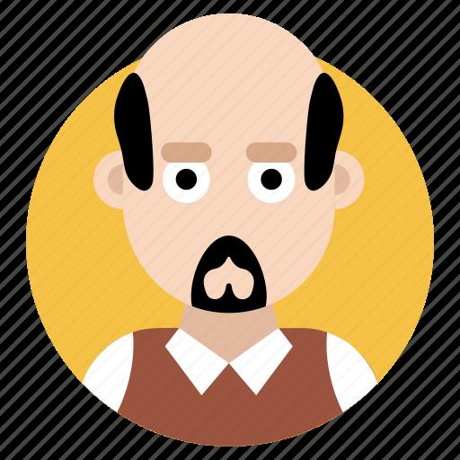 avatar, bald person, beard man, male, masculine icon