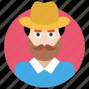beard man, hipster, man, professional man, reformer icon