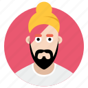 avatar, beard man, indian man, man, sikh icon