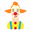 cartoon, child, clown, face, fun, human, red icon
