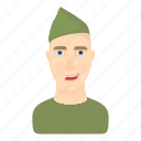 cartoon, helmet, logo, man, military, soldier, uniform icon
