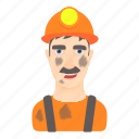 cartoon, coal, digger, engineering, hat, miner, profession icon