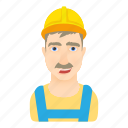 cartoon, hard, hardhat, hat, logo, man, worker icon