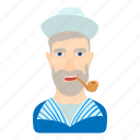 cartoon, hat, logo, man, sailor, suit, wear icon