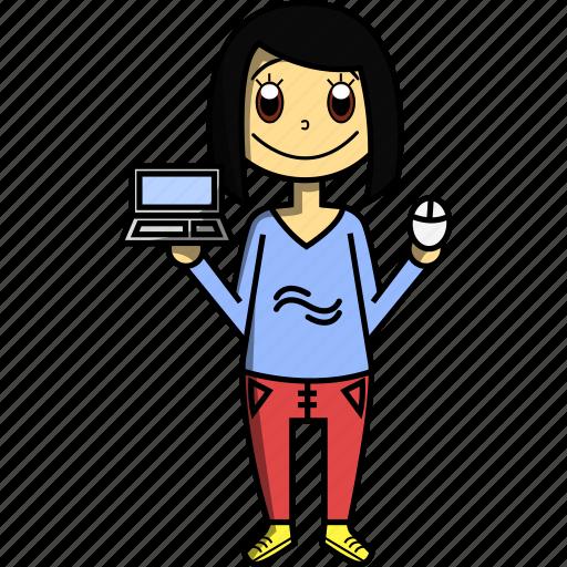 computer, design, designer, girl, pc, proffesions, woman icon