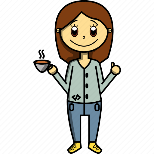 code, coffee, girl, proffesions, programmer, woman icon