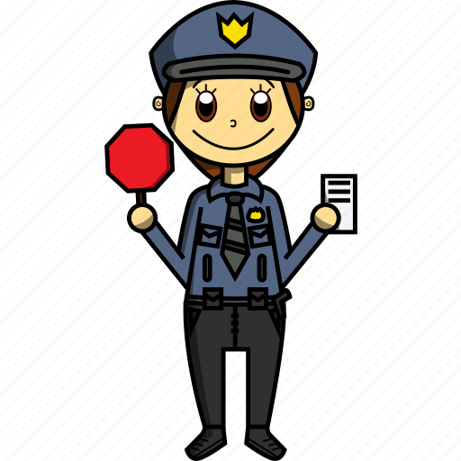 Car, girl, policeman, proffesions, transit, woman icon - Download on Iconfinder
