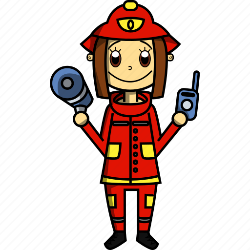 fire, fireman, girl, house, proffesions, woman icon