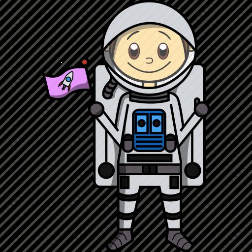 Astronaut, boy, man, moon, nasa, proffesions, rocket icon - Download on Iconfinder