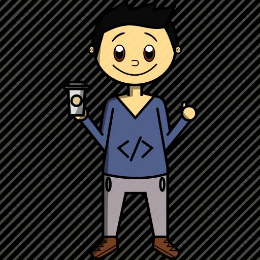 boy, code, coding, coffee, man, proffesions, programmer icon