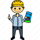 architect, boy, design, hat, house, man, proffesions icon