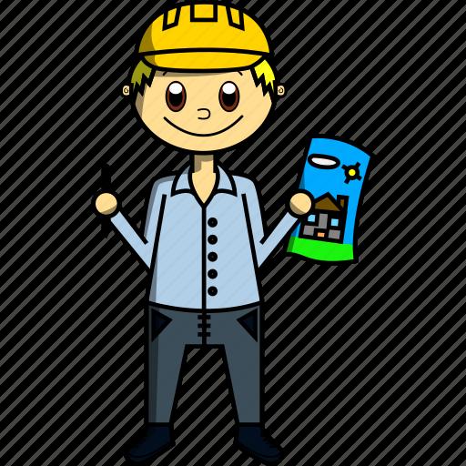 architect, boy, design, hat, house, man, proffesions icon
