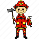 boy, fire, fireman, house, man, proffesions icon