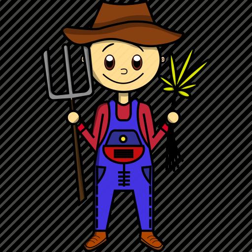 boy, farmer, food, grow, man, proffesion icon