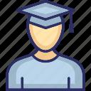 graduate, male graduate, scholar, student, student avatar icon