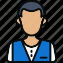 avatar, hotel services, man, office, restaurant, waiter icon