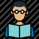 book, boy, man, reading, school, student, studying