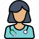 avatar physician, doctor, female, healthcare, stethoscope, woman icon