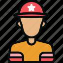 avatar, emoji, firefighter, fireman, male, man, safety icon