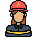 avatar, conflagration, female, firefighter, fireman, girl, rescuer icon