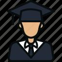 avatar, education, graduate, man, person, scholar, student icon