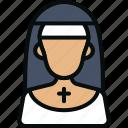 avatar, christian, girl, nun, priestess, religion, sister icon