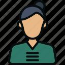 female receptionist, female waiter, hotel attendant, hotel staff, service, waiting staff, waitperson icon