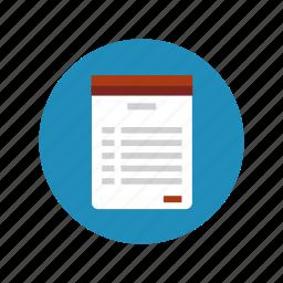 clipboard, document, list, note, plan, schedule, sheet icon