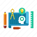 analyze, blueprint, calculate, creative, design, drawing, planning icon