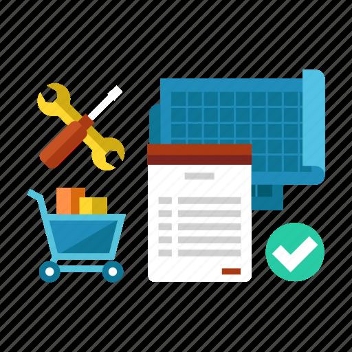 blueprint, meterial, planning, preparaition, prepare, schedule, working icon
