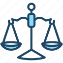 balance, justice, law, scale, weights icon