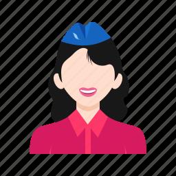air, attendant, cabin, crew, flight, hostess, uniform icon