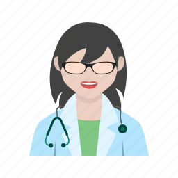 doctor, female, medical, patient, stethoscope, tablet, woman icon