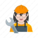 auto, car, female, maintenance, mechanic, service, shop icon