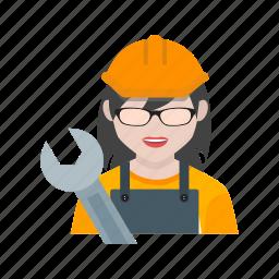 auto, car, female, maintenance, mechanic, service, shop icon