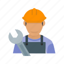 auto, car, maintenance, male, mechanic, service, shop icon