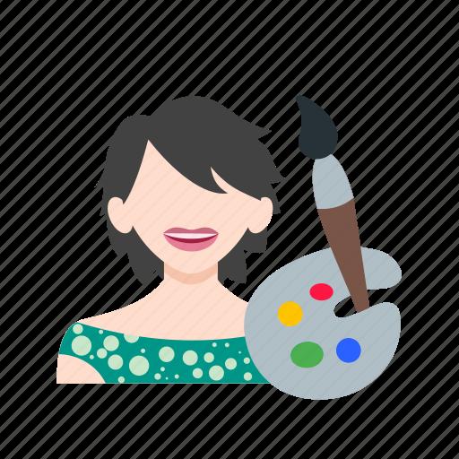 artist, artistic, female, paint, paintbrush, painter, studio icon