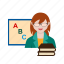 board, classroom, college, female, professor, school, teacher icon