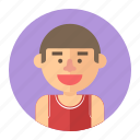 athlete, avatar, basketball, male, man, player, professions icon