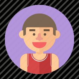 athlete, avatar, basketball, male, man, player, professions icon