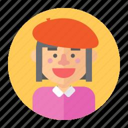 artist, avatar, female, girl, painter, professions, woman icon