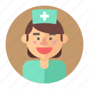 avatar, female, medic, nurse, professions, woman icon