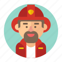 avatar, firefighter, fireman, male, man, professions icon