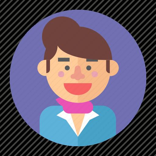 Girl, professions, stewardess, woman, avatar, fashion, female icon - Download on Iconfinder